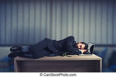 商人, 睡觉, 结束, a, 桌子, 应付款, 对于, 工作过度