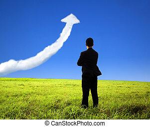 商人, 站, 上, the, 領域, 以及, 觀看, 成長, 圖表, 雲