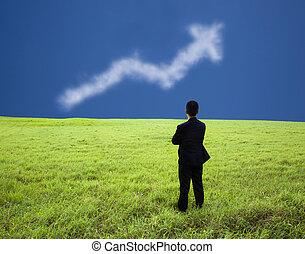 商人, 站, 在, the, 草地, 以及, 觀看, the, 事務, 利潤, 圖表, ......的, 雲