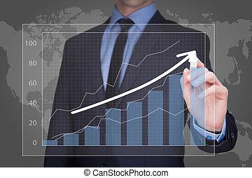 商人, 策略, 图, 图表, 商业概念