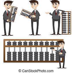商人, 算盤, 集合, 卡通