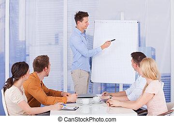 商人, 給, 表達, 到, 同事, 在, 辦公室