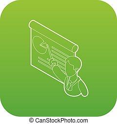 商人, 給, 表達, 由于, a, 板, 圖象, 綠色, 矢量