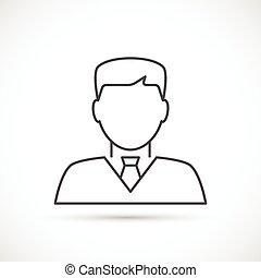 商人, 线, avatar, 稀薄, 图标