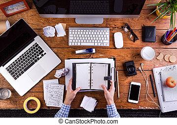 商人, 藏品, 個人, organizer., 小器具, 以及, 辦公室, suppl