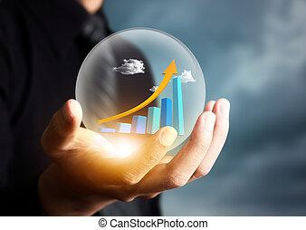 商人, 藏品, 增加, 圖表, 在, 水晶球