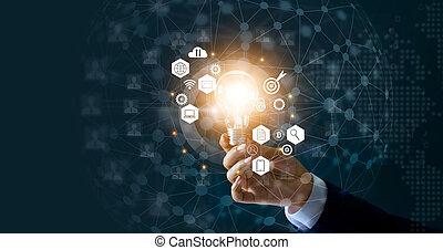商人, 藏品, 燈泡, 以及, 新的想法, ......的, 事務, 由于, 創新, 技術, 网絡, 連接