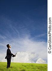 商人, 藏品, 電腦, 以及, 觀看, the, 雲