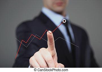 商人, 触, a, 圖表, 表明, 成長