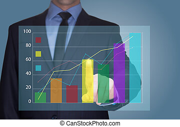商人, 触, a, 圖表, 表明, growth., 生意概念