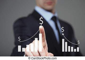 商人, 触, a, 圖表, 表明, growth., 美元徵候