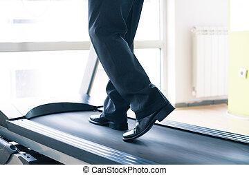 商人, 訓練, 在, 體操