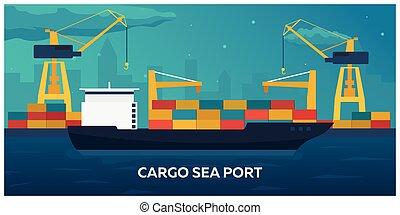商人, 貨物, 交通機関, illustration., marine., 平ら, freight., ship., ベクトル, 海である, 海, logistic., shipping.