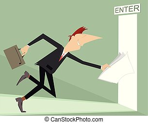 商人, 跑, 進, an, 打開門, 插圖
