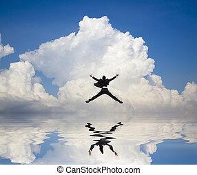 商人, 跳躍, 上, the, 水, 以及, 反映, 由于, 雲, 背景