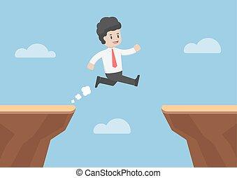 商人, 跳躍, 透過, the, 缺口, 在之間, 懸崖