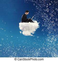 商人, 連線, 由于, 他的, 膝上型, 在上方, a, cloud., 概念, ......的, 社會, 网絡, 以及, 網際網路, 癮