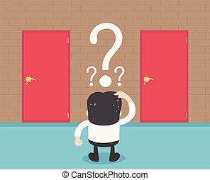 商人, 選擇, the, 門, 紅色, 卡通, 概念, 摘要, 事務