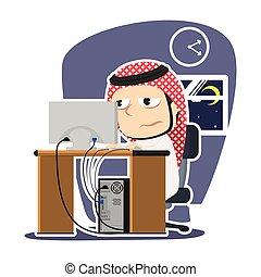 商人, 阿拉伯, 疲倦, 加班