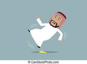 商人, 阿拉伯, slipped, 剥皮, 香蕉