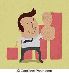 商人, 顯示, 拇指, 向上