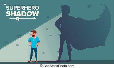 商人, superhero, 陰影, vector., 成功, superhero, businessman., 成就, victory., 動机, 領導, 挑戰, concept., 套間, 卡通, 插圖