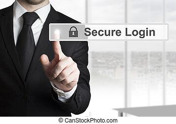 商人, touschscreen, 推, 安全, 登录