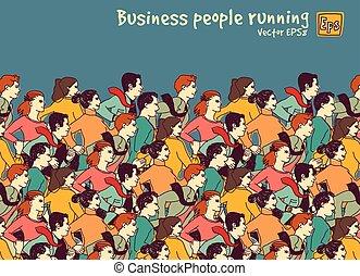 商务人士, 大, 团体, 竞争, 颜色