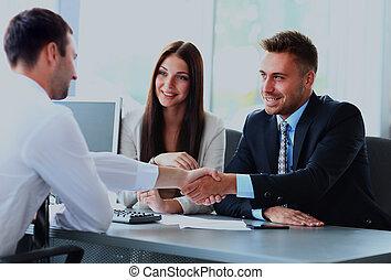 商务人士, 手, 振动, , 结束, 会议