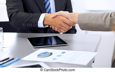 商务人士, 握手, 结束, , a, 会议