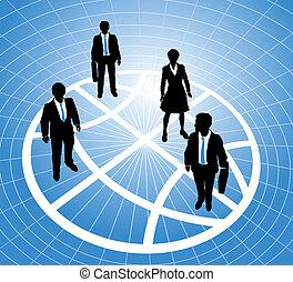 商务人士, 站, 在上, 全球, 符号, 栅格