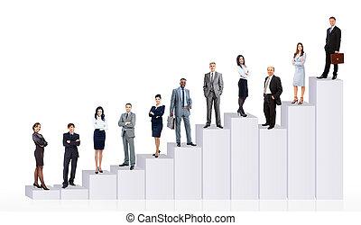 商务人士, 队, 同时,, diagram., 隔离, 结束, 白的背景
