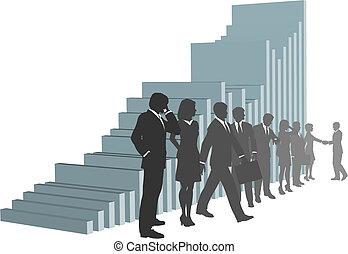 商务人士, 队, 带, 增长图表