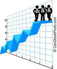 商务人士, 顶端, 销售图表, 队