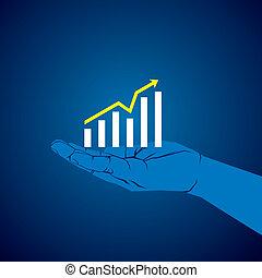 商務成長, 圖表, 在, 手