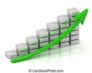 商務成長, 圖表, ......的, the, 白色, 塊
