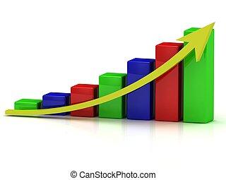 商務成長, 圖表, ......的, the, 种族障礙, 以及, a, 黃色, 箭