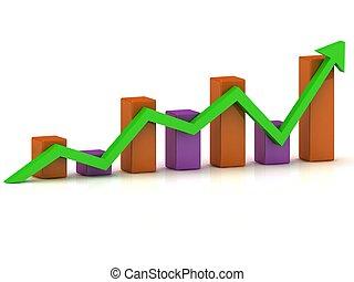 商務成長, 圖表, ......的, the, 种族障礙, 以及, the, 綠色, 箭