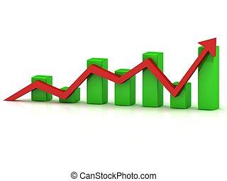商務成長, 圖表, ......的, the, 綠色, 酒吧, 以及, 紅色箭頭
