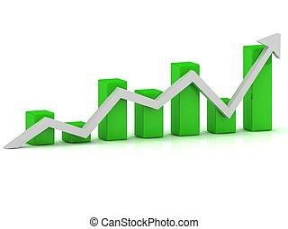 商務成長, 圖表, ......的, the, 綠色, 酒吧, 以及, the, 白色, 箭