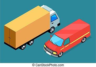 商品, 出産, 輸送, ロジスティックである, 無料で, ベクトル, icon., 自動車, 場所, 交通機関, 自動車
