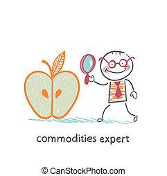商品, 專家, 站立, 近, 大的苹果, 以及, 是, 考慮到, a, 放大鏡