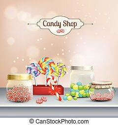 商店, 作品, 糖果, 3d
