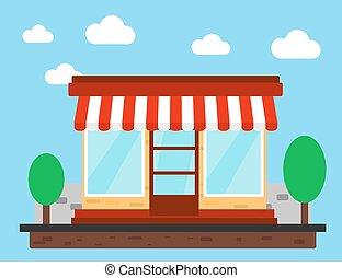 商店, 商店, 或者, 市場, 正面圖, 套間, design.
