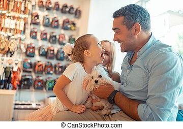 商店, 女儿, 宠物, 狗, 当时, 父母, 来, 乐趣, 有