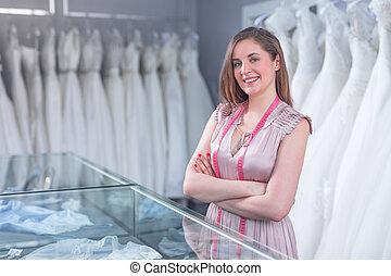 商店, 女裁縫, 年輕, 婚禮