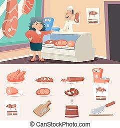 商店, 妇女, 老, 肉, 葡萄收获期, 性格, 描述, 卖主, 矢量, 设计, 屠夫, 背景, 祖母, 时尚, 图标, 卡通漫画, retro
