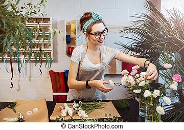 商店, 妇女, 花束, 花, 种花人, 做, 微笑