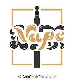 商店, 字母, 蒸氣, poster., 旗幟, 飛行物, 葡萄酒, vape, logotype, 插圖, 印刷術,...
