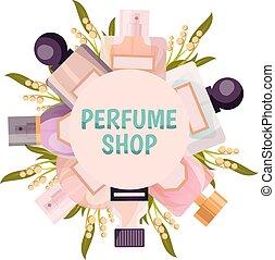 商店, 框架, 背景, 香水